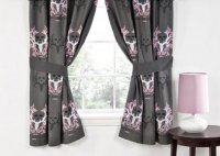 Bone Collector Lined Pocket Panel Curtain Pair Gray & Pink