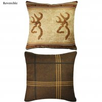 "Browning Double Buckmark Square Pillow Chocolate 18"" Square"
