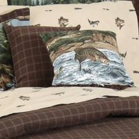River Fishing Scene Square Throw Pillow