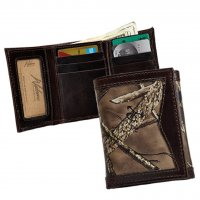 Men's True Timber Premium Leather Camo Trifold Wallet