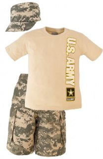 Kids US Army Acu Camo Pattern 3 Pc Shirt, Hat & Short Set