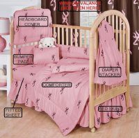 Browning 7 Piece Baby Crib Set Pink with Brown Buckmarks