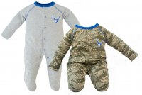 USAF Baby 2 pk Sleepers ABU Camo and Gray with Blue Accents