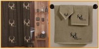 Bone Collector Brown Shower Curtain & Tan Towel Set