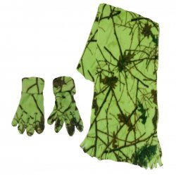 Women's Camo Scarf and Gloves Set Blazing Green Forest