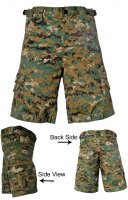 Kids Tactical Combat Shorts Woodland Camo