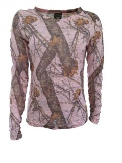 Pink Mossy Oak Camo Ladies Long Sleeve Burnout Shirt 605735