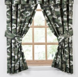 Browning Buckmark Camo Green Rod Pocket Curtains