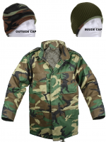 Youth M-65 Woodland Camo Field Jacket with Camo Beanie Cap