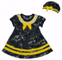 Baby Girls Sailor Nautical 2pc Dress & Beret Hat Camo w/ Yellow