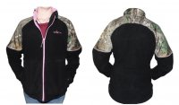 Habit Womens Fleece Jacket Black with Realtree Xtra Camo FJ9004