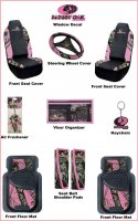 Licensed Mossy Oak Pink Camo Auto & Truck Accessory 11 Pc. Set