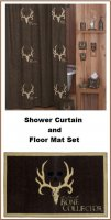 Bone Collector Brown Shower Curtain and Bathroom Floor Mat Set