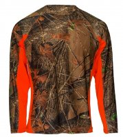 Mens Active Performance Long Sleeve T-Shirt Camo W/ Blaze Orange