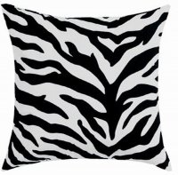 Black Zebra Stripe Square Accent Pillow