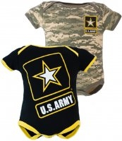 2 pk US Army Baby ACU Outfits 1-Black & 1-Camo Bodysuit