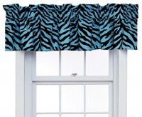 Blue Zebra Print Window Topper Valance