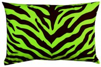 Black and Lime Green Zebra Stripe Oblong Pillow