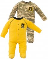 2 pk Acu US Army Baby Crawler Sleeper 1 Yellow 1 Camouflage
