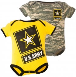 2 pk US Army Baby ACU Outfits 1-Yellow & 1-Camo Bodysuit