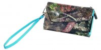 Women's Nylon Wristlet Wallet in Camo with Blue Accents 207534