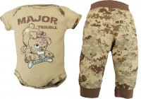 "U.S.M.C. Devil Dog 2pc Baby ""Major Trouble"" Bodysuit Pants Set"