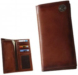 Leather Men's Caramel Brown Pocket Secretary Wallet with Buck