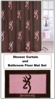 Browning Buckmark Pink & Brown Shower Curtain and Floor Mat Set