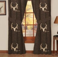 Bone Collector Lined Pocket Panel Curtain Pair Brown & Tan