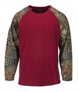 Trail Crest Mens Raglan Long Sleeve T-Shirt Burgundy & Camo