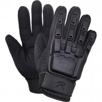 Black Armored Molded Hard Back Tactical Gloves
