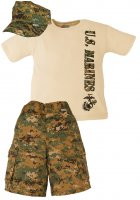 USMC Woodland Digital Camo Kid 3 pc Short Set