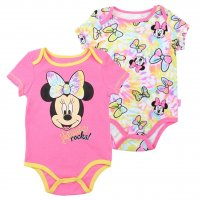 "Disney's Minnie Mouse Baby Girl ""Minnie Rocks"" 2-pk. Bodysuit"