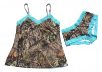 Womens MOBUC Camo with Aqua Accents Camisole & Boyshort Set
