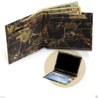 Premium Leather Mossy Oak Break Up Camo Billfold Wallet