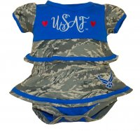 Baby Girl Ruffle Dress U.S.A.F. Camo with Blue Accents