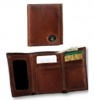 Caramel Brown Leather Tri-Fold Wallet with Buck Concho 200510