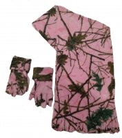 Kids Camo Scarf and Gloves Set Pink Forest Camo