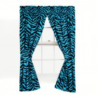 Black and Blue Zebra Stripe Panel Drapes