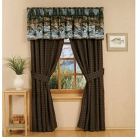 River Fishing Scene Rod Pocket Curtains