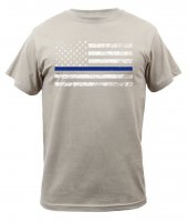 Adult Tan Tee Shirt with White U.S. Flag and Thin Blue Line