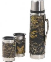 Weber's Mossy Oak Camo Leather Vacuum Bottle & Mug Set