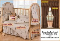 Browning Buckmark Tan 7 Piece Baby Crib & Window Treatment Set