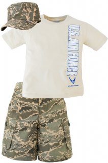 USAF ABU Camo Kids Shorts, Shirt & Hat 3 pc Set