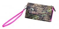 Women's Nylon Wristlet Wallet in Camo with Pink Accents 207531