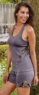 Active Wear Fitted Tank Top Gunmetal Gray & Camo