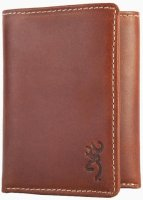 Browning Leather Tri Fold Wallet with Buckmark