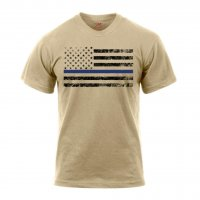 Adult Tan Tee Shirt with Black U.S. Flag and Thin Blue Line