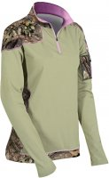 Yukon Gear Women's 1/4 Zip Pullover Tan w/ Breakup Country Camo