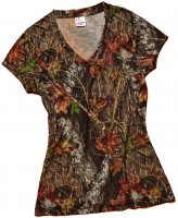 Wilderness Women's V-Neck Shirt Mossy Oak Break-Up Camo 605521